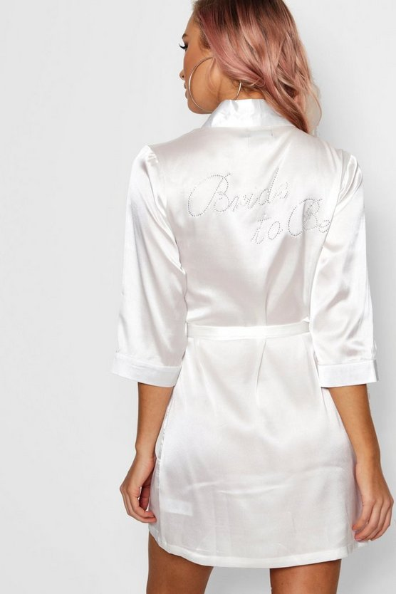 Womens Ivory Diamante 'Bride To Be' Satin Robe