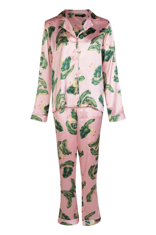 de pantalones de Conjunto pijama de Tropical flamencos rosa dq115B8wx