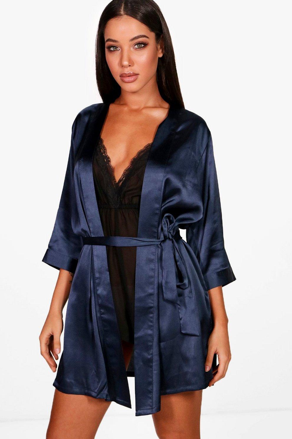 heiß-verkaufender Fachmann Kauf echt Dauerhafter Service Kimono-Morgenmantel in Satin-Optik