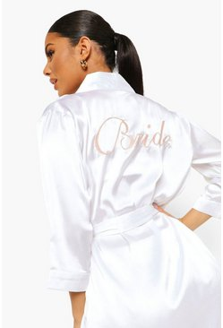Womens Ivory Bride Satin Robe