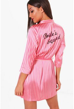 Womens Pink Candy Stripe Brides Squad Robe