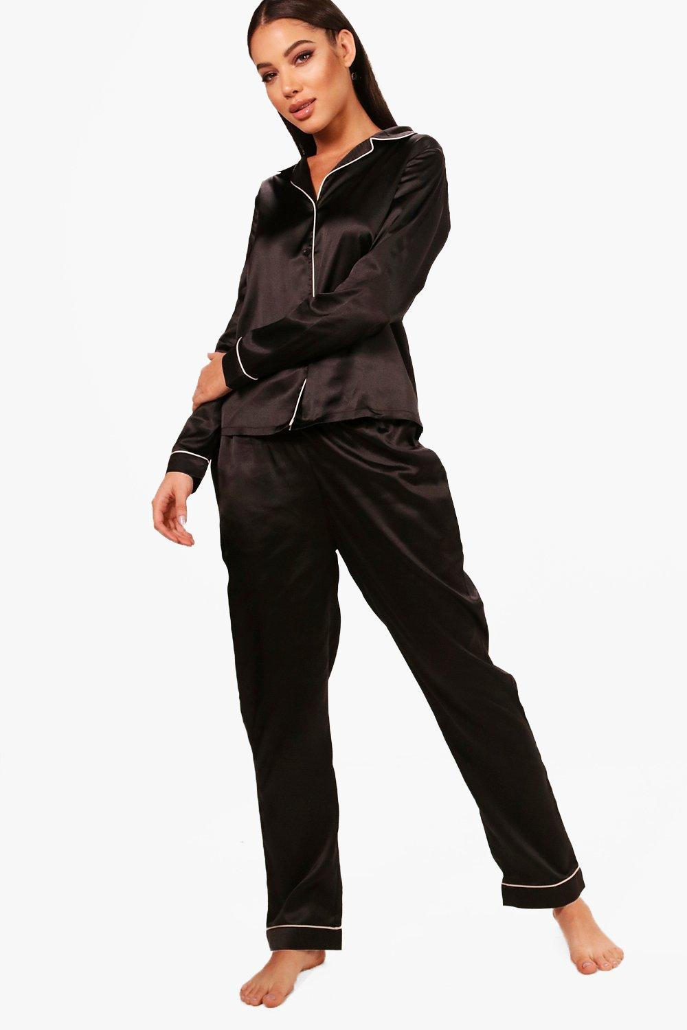 Set Trouser Satin Squad black Brides ptw76Wgpq