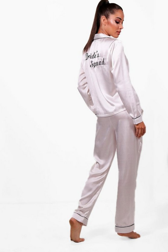 Brides Squad Satin Trouser Set