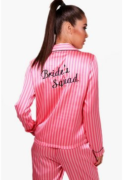 Womens Pink Candy Stripe Brides Squad Trouser Set
