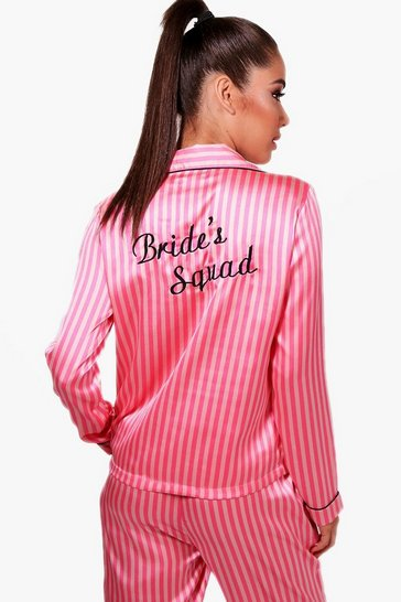 Pink Candy Stripe Brides Squad Trouser Set