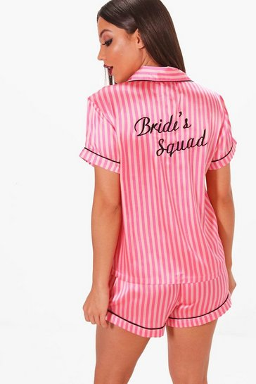 Womens Pink Candy Stripe Brides Squad Satin Short Set