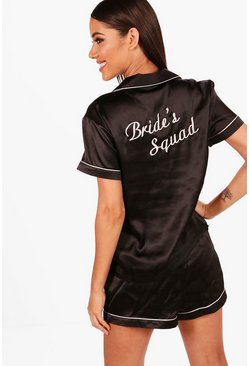 "Dam Black ""Brides Squad"" pyjamasset med shorts i satin"