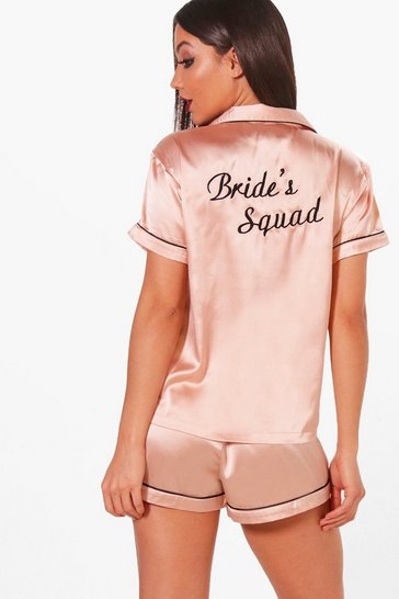 Womens Rose gold Brides Squad Satin Short Set