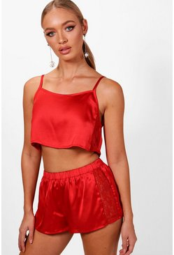 Womens Red Mollie Satin & Lace Insert Cami & Short Set