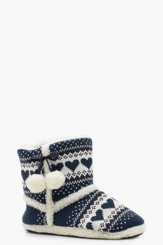 Gabriella Heart Knitted Slipper Boots