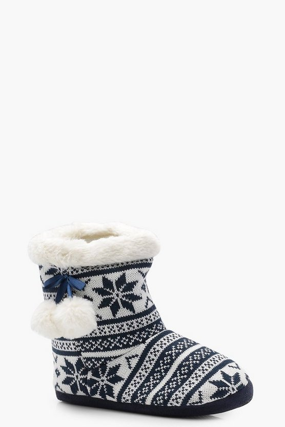 Fairisle Knitted Boot Slippers