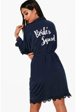 Womens Navy  Brides Squad Lace Detail Bridal Robe