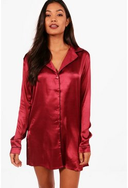 Satin Button Through Night Shirt, Burgundy