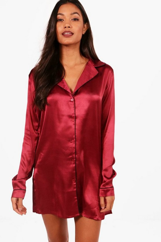 Satin Button Through Night Shirt