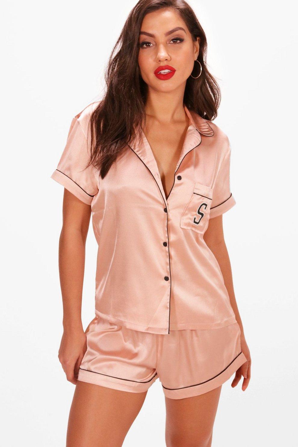 Summer  S  Embroidery Satin Shirt   Short Set  2b3d4a948