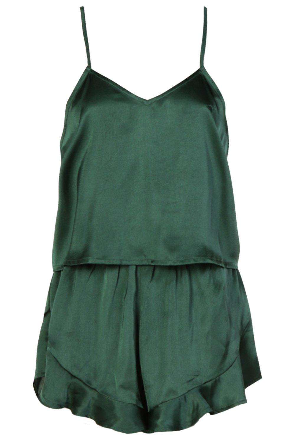 Satin Short Vest Set green dark amp; rBrwqdZxE