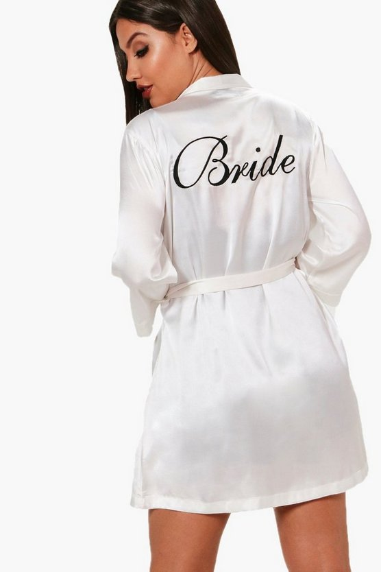 Womens Ivory 'Bride' Satin Robe