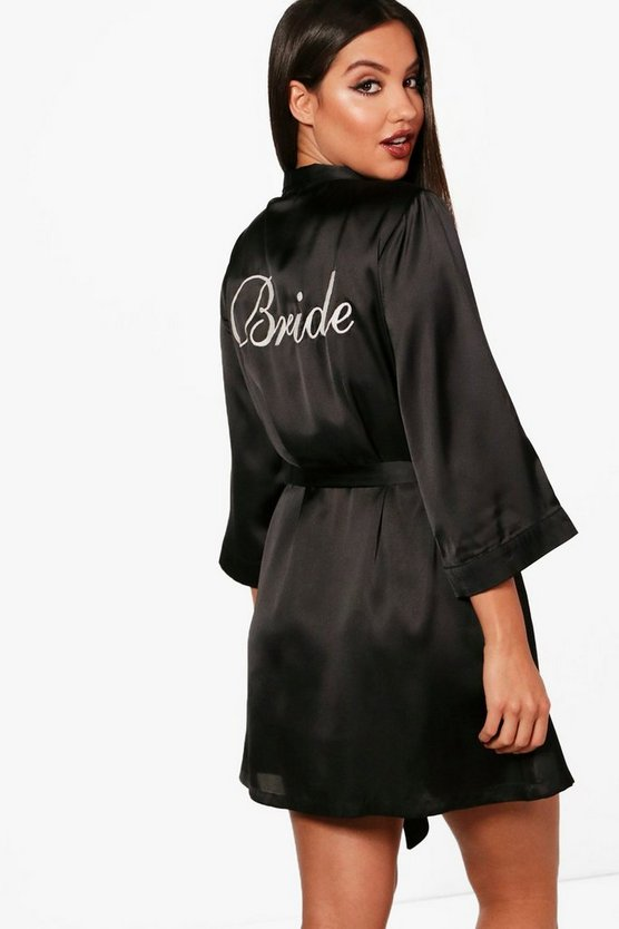 Womens Black Amiee 'Bride' Satin Robe