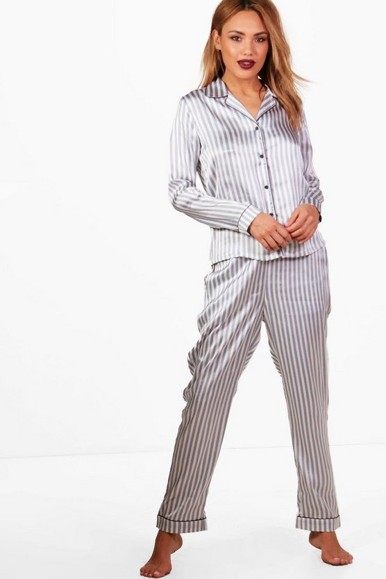 Violet Candy Stripe Contrast Piping Trouser Set