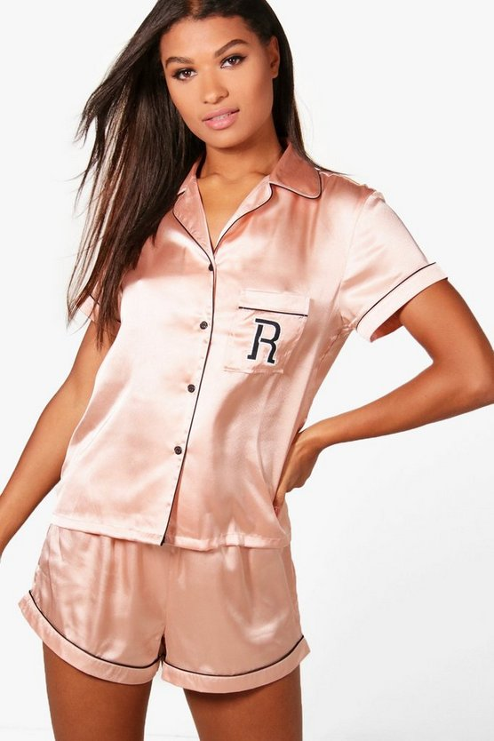 Riley 'R' Embroidered Satin Shirt & Short Set