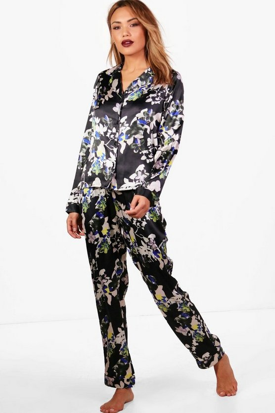 Georgina Dark Floral Shirt & Trouser Set