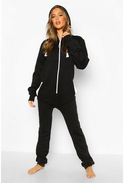 Macey Contrast Pocket & Tie Zip Up Onesie, Black, Donna