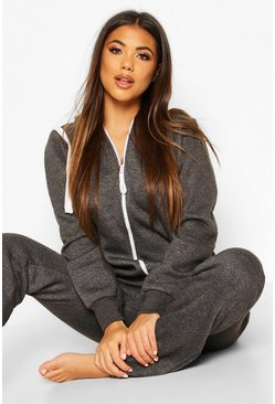 Charcoal Contrast Pocket & Tie Zip Up Onesie