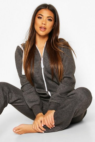 Womens Charcoal Contrast Pocket & Tie Zip Up Onesie