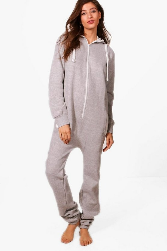 Contrast Pocket & Tie Zip Up Onesie, Grey, DAMEN