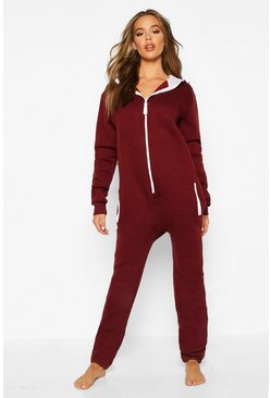Contrast Pocket & Tie Zip Up Onesie, Wine, Donna