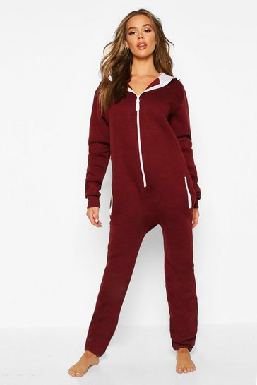 Womens Wine Contrast Pocket & Tie Zip Up Onesie