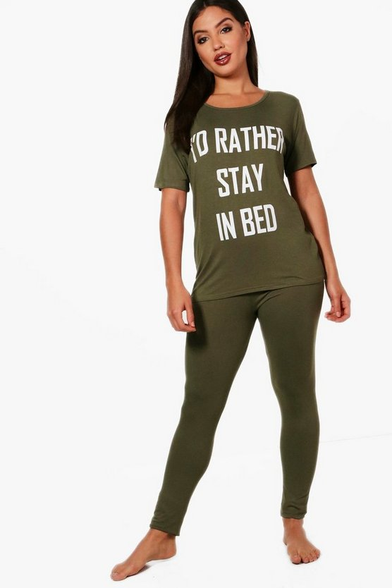 Kara T-Shirt mit Aufdruck 'I Rather Stay In Bed' & Schlafanzug-Set
