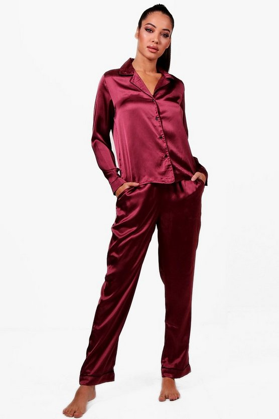 Womens Burgundy Felicity Satin Contrast Piping Button Trouser