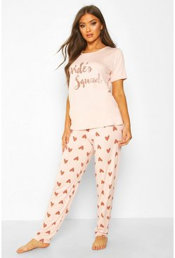 Rose gold Bride's Squad Heart T & Legging Set