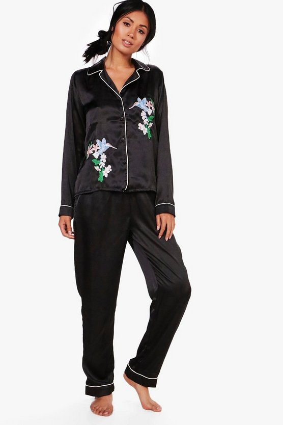 Casey Tropical Bird Satin Shirt & Trouser PJ Set