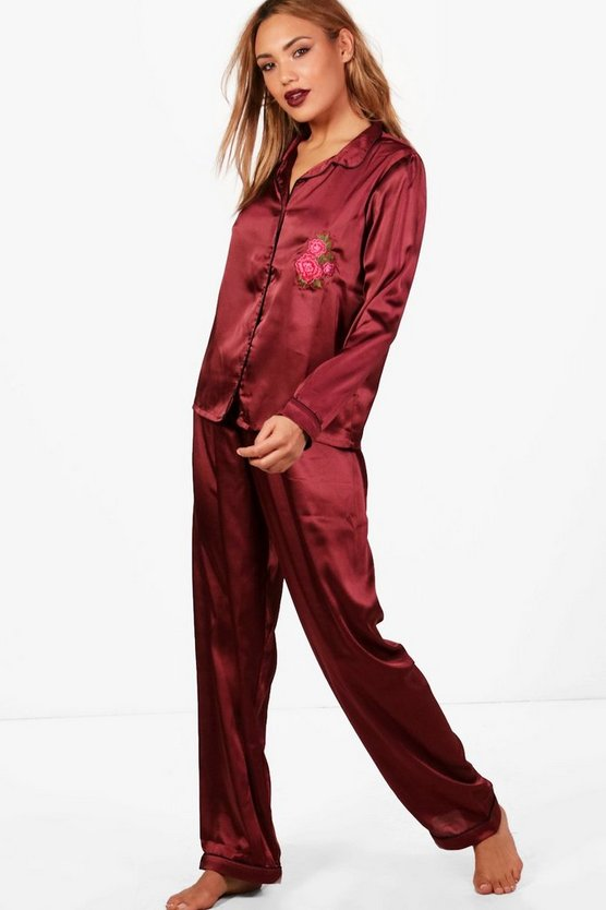 Kate Rose Embroidery Satin Shirt & Trouser Set