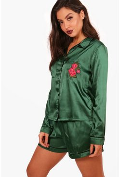Womens Teal Rose Embroidery Satin Short & Shirt Set