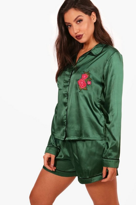 Rose Embroidery Satin Short & Shirt Set