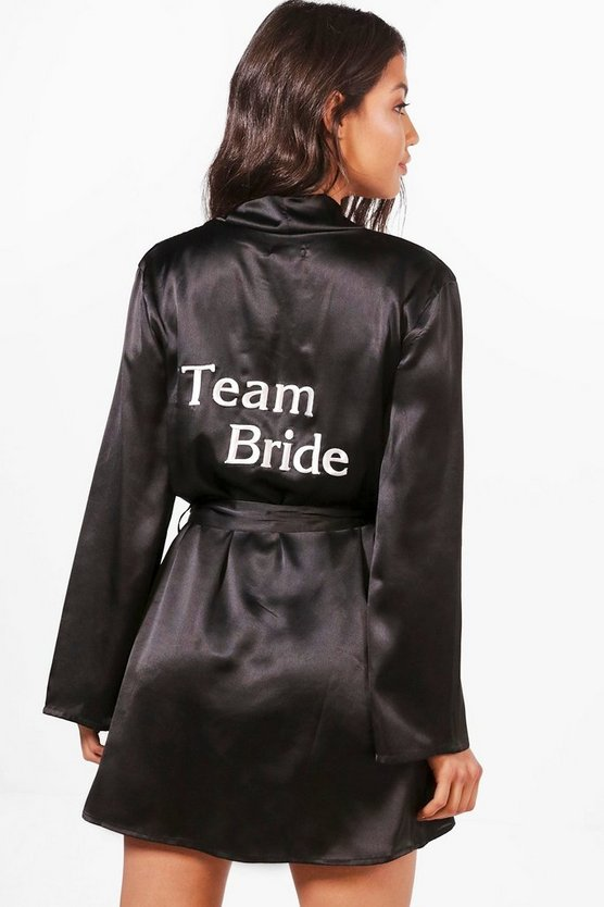 Womens Black Team Bride Robe