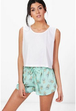 Womens Blue Keira Pineapple Shorts + Vest PJ Set