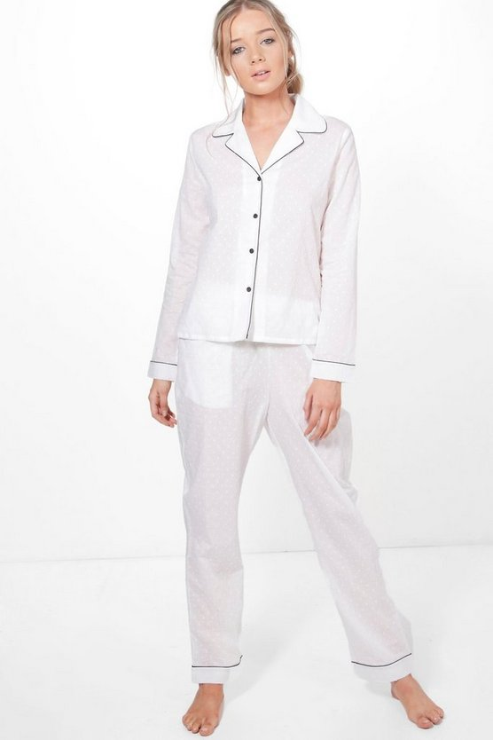 Caitlyn Cotton Dobby Long Sleeve Trouser Set