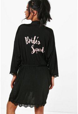 Womens Black Brides Squad Robe