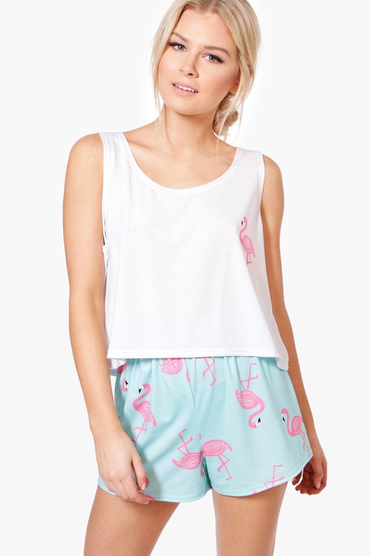 economico per lo sconto 99256 44456 skye set pigiama con canottiera e pantaloncini con stampa di fenicotteri |  Boohoo