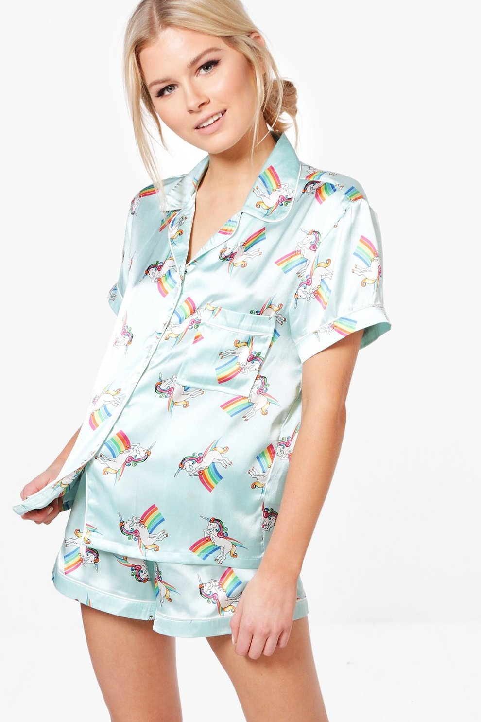 alice parure de pyjama short et chemise imprimé licorne  3dbf3aa5f71