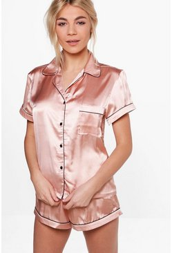 Satin PJ Short Set With Contrast Piping, Rose gold, Donna