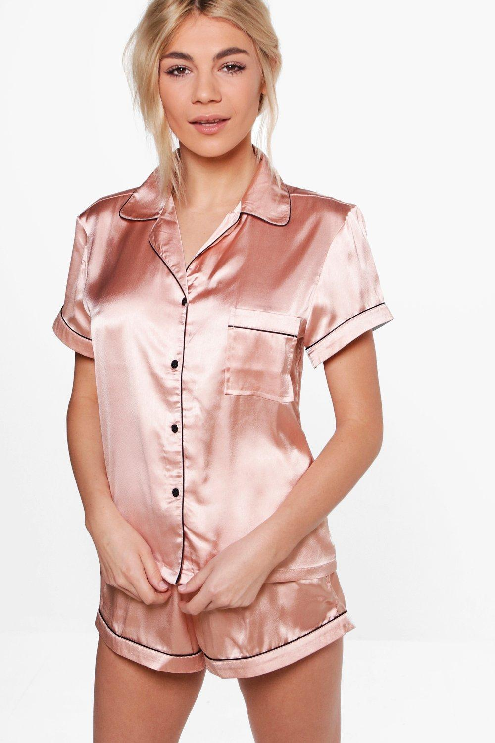 61ebcc022 Satin PJ Short Set With Contrast Piping