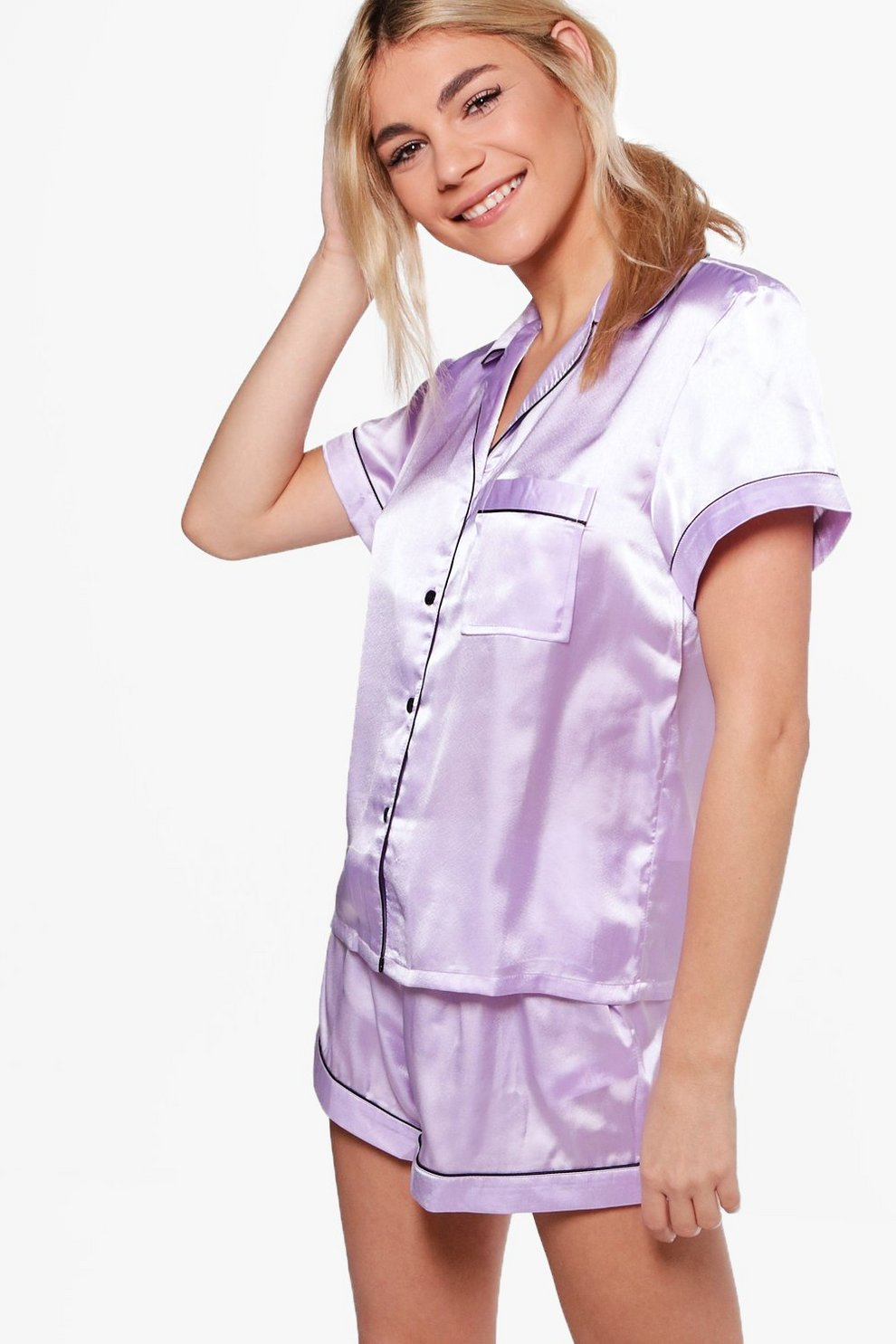 56ee0c30d Womens Lilac Satin PJ Short Set With Contrast Piping