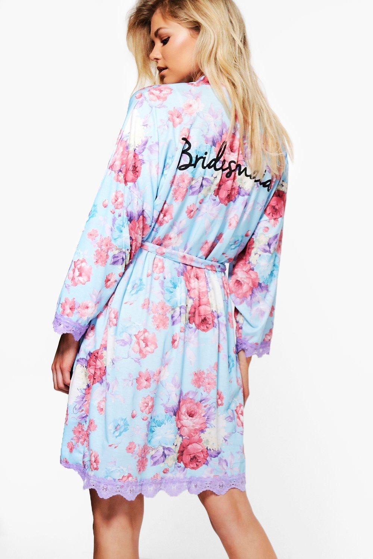 Floral Bridesmaid Slogan Robe | Boohoo