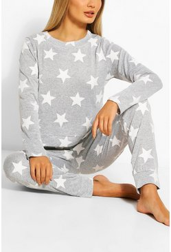 Womens Grey Star Print Sweat + Jogger Set
