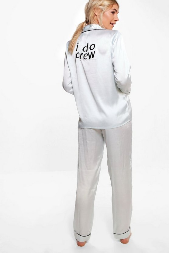 Ava Satin Bridal Slogan Long Sleeve Trouser Set